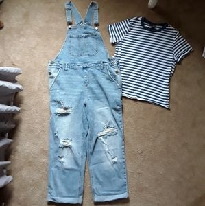 NWOT WILD FABLE OVERALLS & TEE JRS M/L*90s VIBES*
